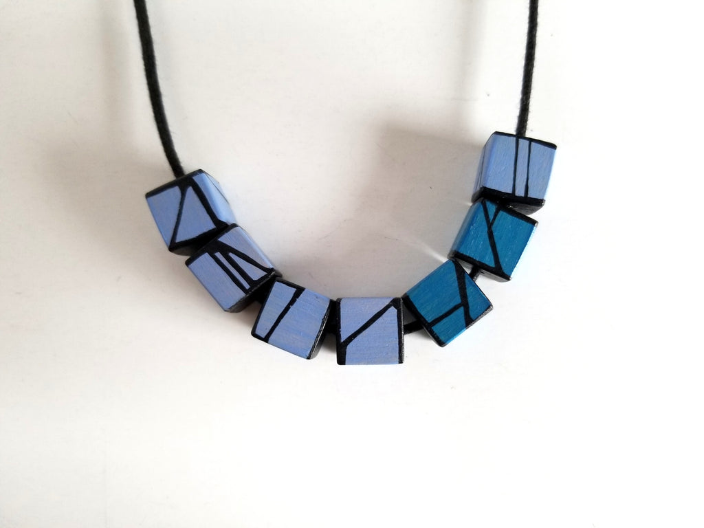 Cube12 - Blue Violet & Dark Blue  Accent Wood Necklace