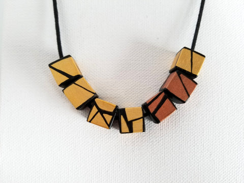 Cube12 - Yellow Gold & Copper Accent Wood Necklace