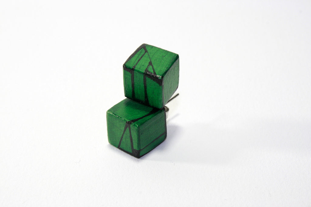Dark Green Wood Stud Earrings