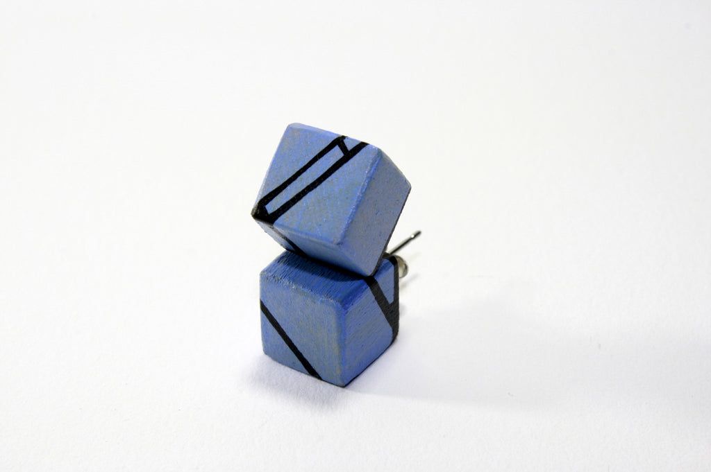 Blue Violet Wood Stud Earrings
