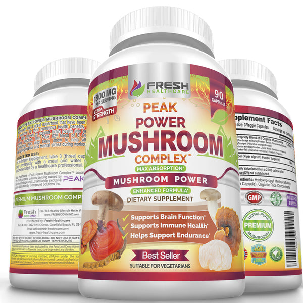 Fresh Healthcare Organic Peak Power Mushroom Complex - Peak O2 - 90 Vegan Capsules
