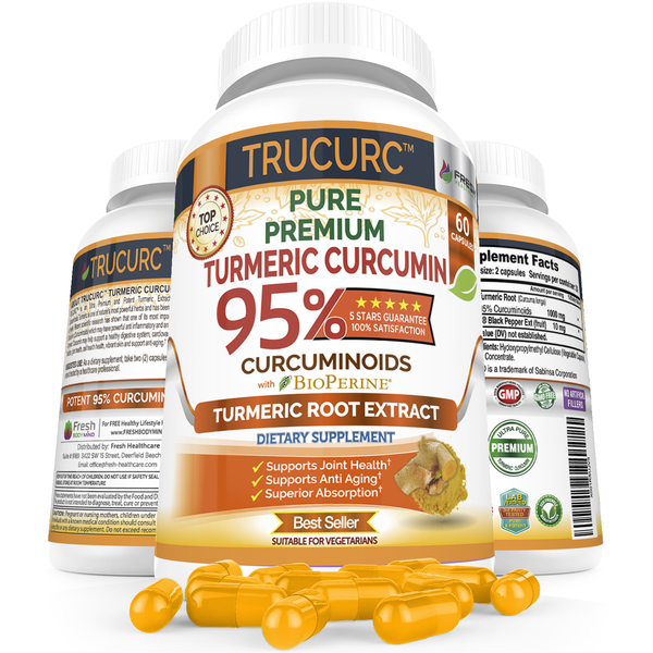 TRUCURC - The Most Potent Turmeric Curcumin with Pure 95% Curcumin w/Black Pepper  – 60 Vegan Capsules