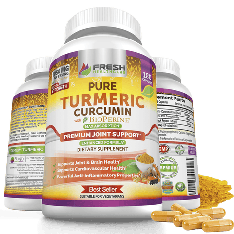 Fresh Healthcare Potent Turmeric Curcumin with 95% Curcuminoids Extract - 180 Vegan Capsules