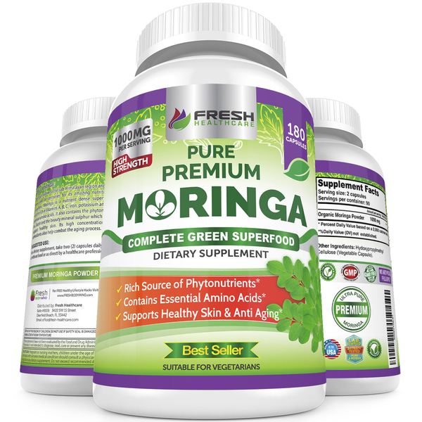 Fresh Healthcare Moringa Oleifera Complete Green Superfood - 180 Vegan Capsules