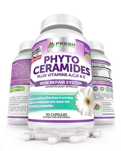 Fresh Healthcare Phytoceramides 350mg with Vitamins A,C,D & E - 90 Vegan Capsules