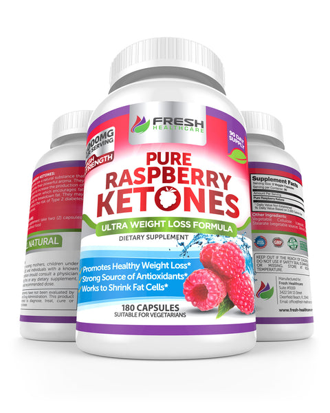 Pure 100% Raspberry Ketones MAX 1000mg Per Serving - 180 Vegan Capsules
