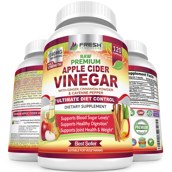 Fresh Healthcare Premium Raw Apple Cider Vinegar Complex - 120 Vegan Capsules