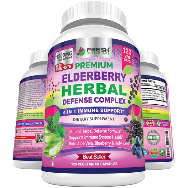 Premium Elderberry Capsules 1200mg - 4 in 1 Immune Support Supplement - 120 Vegan Caps