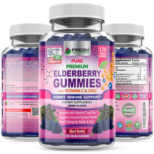 Fresh Healthcare Elderberry Gummies with Zinc and Vitamin C - 120 Vegan Berry Gummies