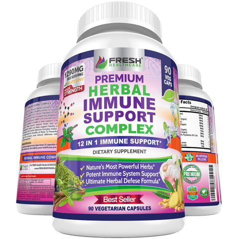 Herbal Immune Support Complex - Advanced 12 in 1 Daily Immune Support  - 90 Vegan Capsules