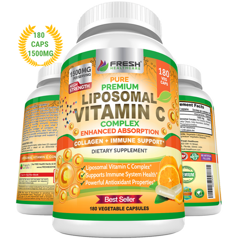 Liposomal Vitamin C - 1500mg Supports Immune Health & Collagen - 180 Vegan Capsules