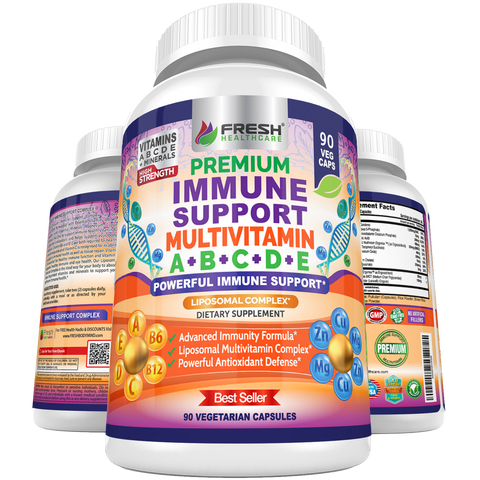 Immune Support Multivitamin for Men and Women - Vitamins A, B, C, D, E - 90 Vegan Caps