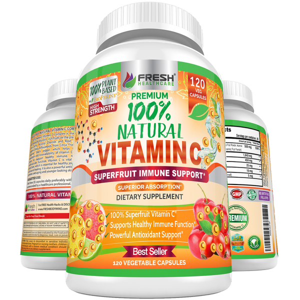 100% Natural Vitamin C - Rose Hips, Acerola Cherry and Camu Camu - 120 Vegan Capsules