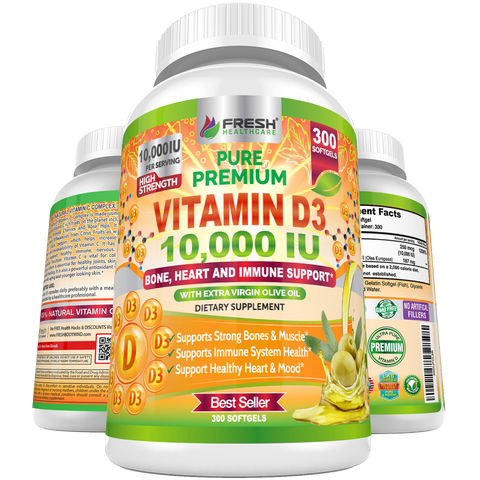Vitamin D 10,000 IU with Extra Virgin Olive - Support Immune, Bone & Heart Health - 300 Softgels