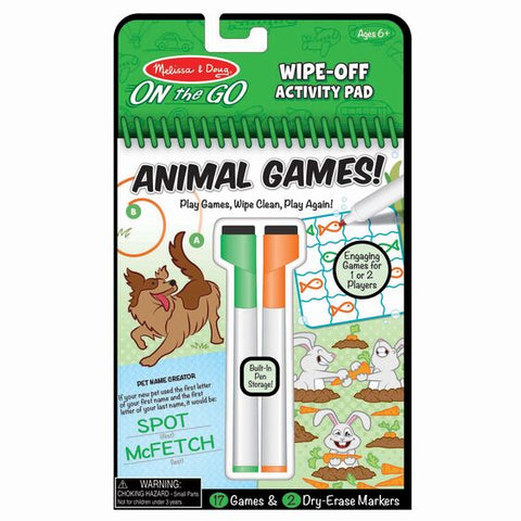 Animal Games  - On the Go Travel Activity Pad - Wipe clean.