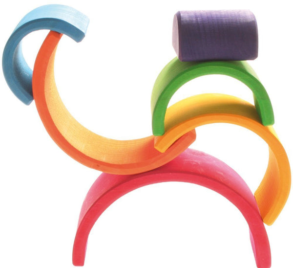 Grimm's Wooden 6 Piece Rainbow Stacking Toy