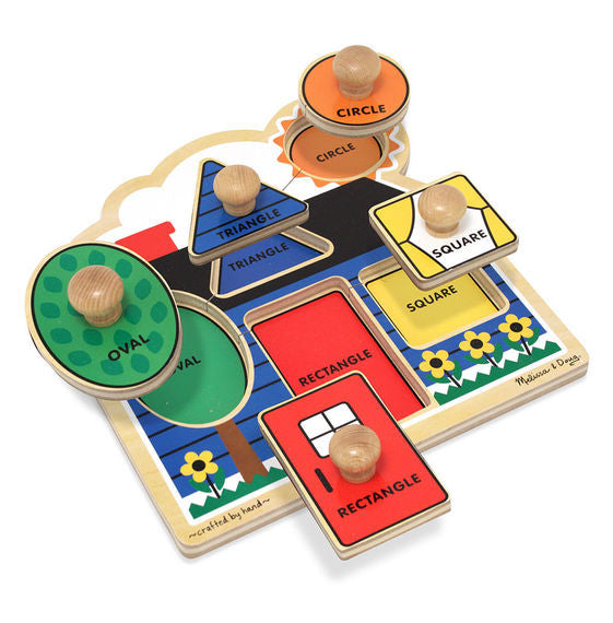 First Shapes Jumbo Wooden Knob Puzzle - 5 Piece