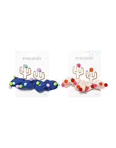 Eyecandy Cactus Scrunchie and 2 Clips