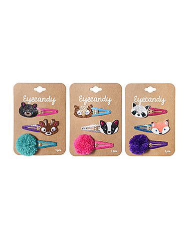 Eyecandy 3 Pack Mixed Snap Critter Hair Clips