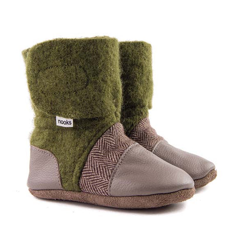 Nooks Infant / Toddler Booties Coastal Forest Green with Tweed