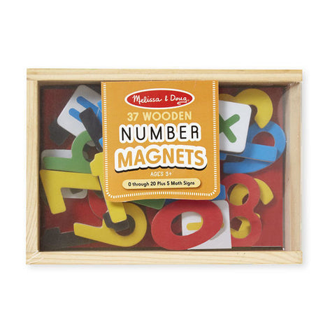 37 Wooden Magnetic Numbers and 5 Math Signs - Number Magnets