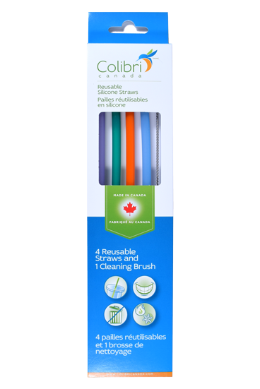 Colibri Reusable Silicone Straws - Pack of 4 and 1 Cleaning Brush