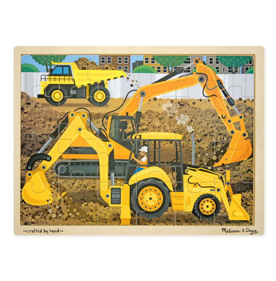 Wooden Jigsaw Puzzle - Diggers at Work 24 Pieces