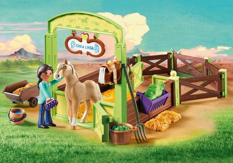 Playmobil - Spirit Riding Free - Pru & Chica Linda with Horse Stall