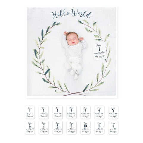 Lulujo Baby's First Year Blanket & Card Set - Hello World