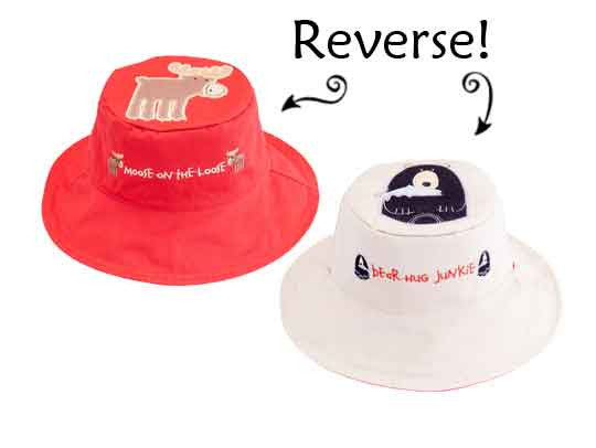 Flapjack Kids Reversible Sun Hat Moose / Black Bear