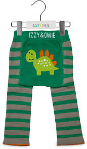 Izzy & Owie Cozy Baby Leggings - Aqua and Gray Dino