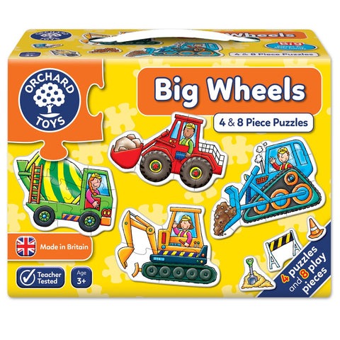 Big Wheels 4 and 8 Piece Puzzles Orchard Toys - 3 Years +