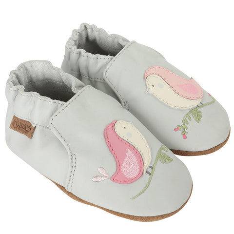 Robeez Bird Buddies Light Grey Soft Sole Shoes