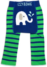 Izzy & Owie Cozy Baby Leggings - Blue and Green Elephant