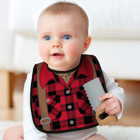 Dressed to Spill Lumberjack Bib and Teether Set by Fred