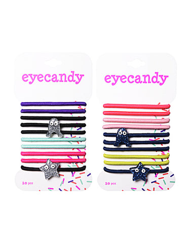 Eyecandy 10 Pack Critter Pop Hair Elastics with Charms