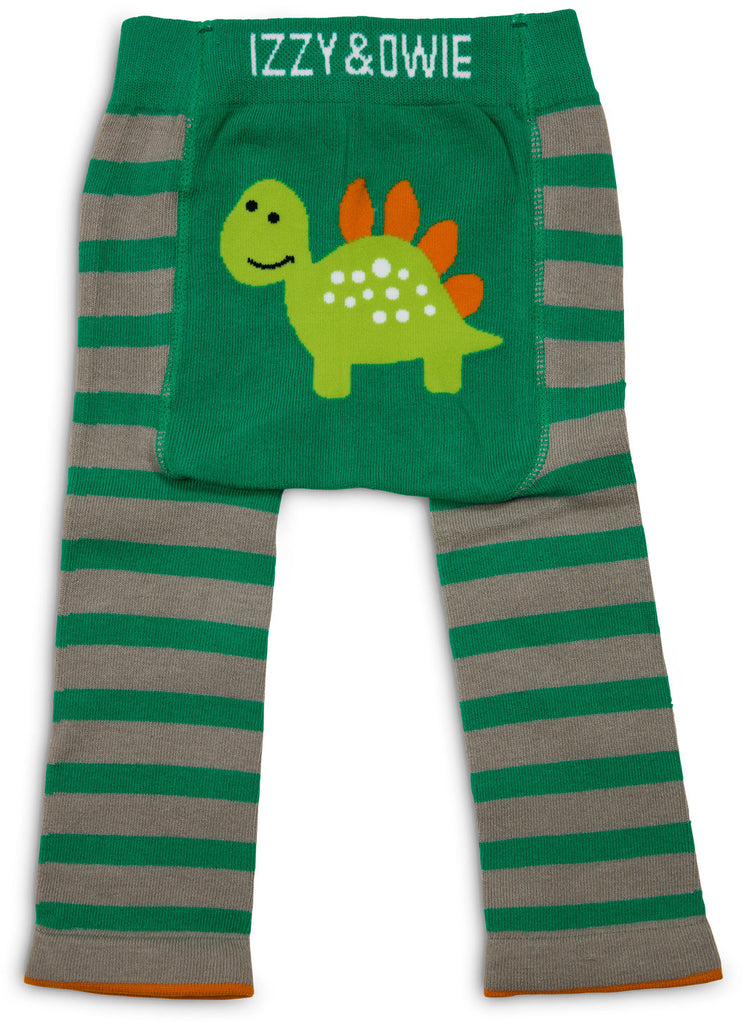 Izzy & Owie Cozy Baby Leggings - Aqua and Grey Dino