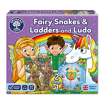 Fairy Snakes & Ladders and Ludo - Double Sided Board Game by Orchard Toys