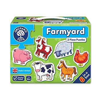 Farmyard 2 Pieces Puzzles by Orchard Toys - 6 in a box. 18months +
