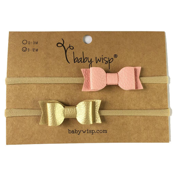 Baby Wisp Headbands - 2 Pack Leather Knot
