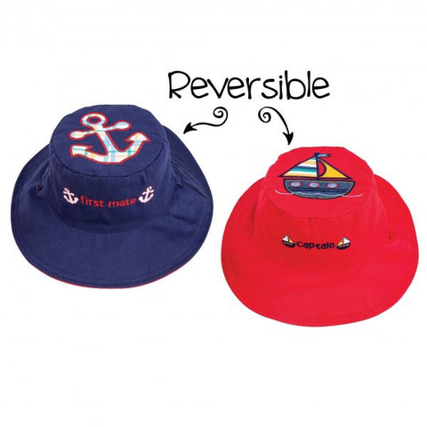Flapjacks Reversible Sun Hat - Sailboat/Anchor