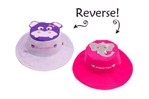Flapjacks Reversible Sun Hat - Hippo/Elephant