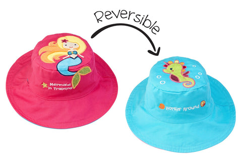 Flapjacks Reversible Sun Hat - Mermaid / Sea Horse