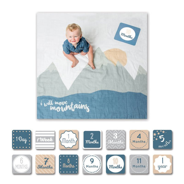 Lulujo Milestone Blanket & Card Infant Gift Set for Boys - I will Move Mountains