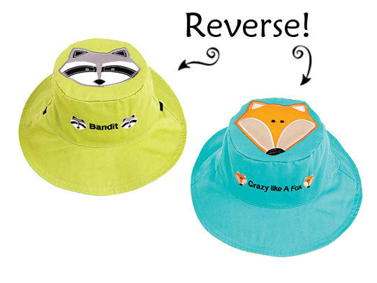 Flapjacks Reversible Sun Hat - Raccoon / Fox