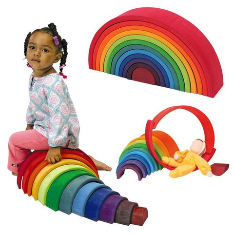 Grimm's Wooden Large 12 Piece Rainbow Stacking Toy
