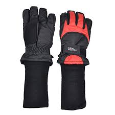 SnowStoppers Ski and Snow Board Gloves Black with Red