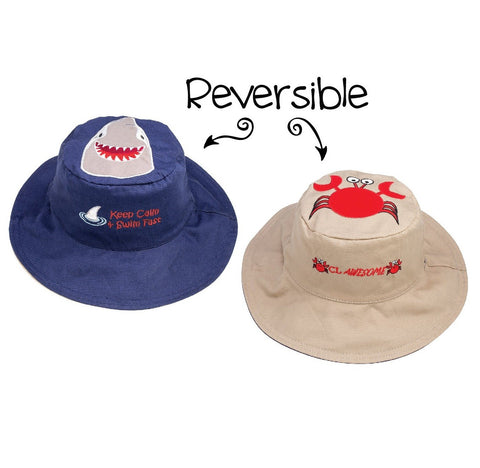 Flapjacks Reversible Sun Hat - Shark / Crab