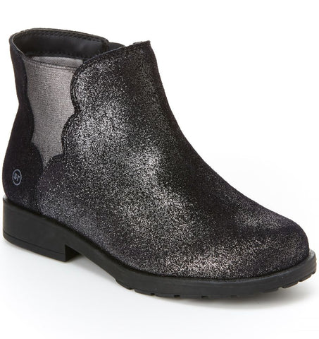 Stride Rite Isabella Black Sparkle Girls Ankle Boot