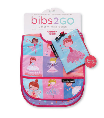 Bibs 2 Go - 2 Bibs and 1 Travel Pouch by Crocodile Creek